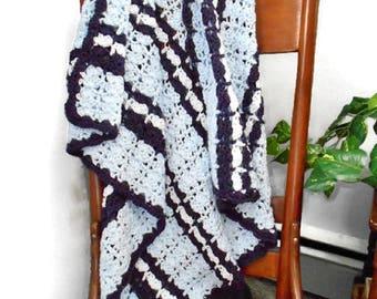 Blue Crochet Afghan Lap Throw Dark Purple White Striped Blanket Handmde Home Decor Bedding Gift For Women Teen Toddler BABY