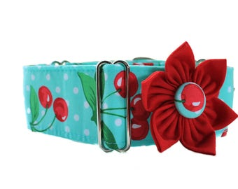 Aqua Martingale Collar with Collar Flower, 2 Inch Martingale Collar, Polka Dot Martingale Collar, Polka Dot Dog Collar Dog Collar Flower