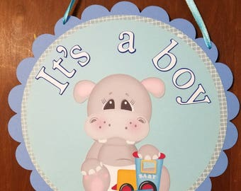 Hospital Door Sign/Baby Shower Sign, It's a Boy Door sign, Hippo Door Sign, Welcome Baby Door Sign