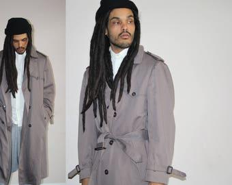 1970s Designer Dior Christian Dior Vintage Gray Grey Men's Belted Trench Coat - Dior Coats - Designer Clothing - MV0505
