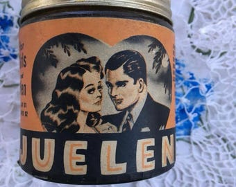 Vintage 1930s 1940s JUELENE Hair Care Product Beautiful Graphics **Sold ONLY As A Decorative Collectible**Product Inside Is To Old To Use**