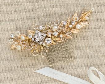 Gold hair comb Wedding hair comb Gold headpiece Gold hair piece  Bridal hair comb Gold hair accessories Wedding hair piece