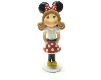 Cold Porcelain Minnie Girl Figurine, Minnie Girl Cake Topper, Clay Minnie Cake Topper, Cupcake Topper, Minnie Birthday Keepsake, Decor, Gift