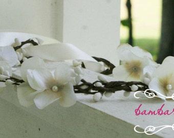 Ivory Flower Hair Wreath, Champagne flower hair wreath, flower girl head piece, flower girl headband,  flower girl hair accessories