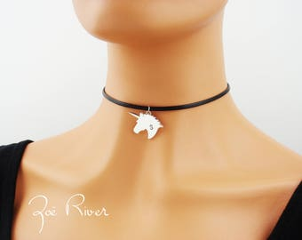 Personalized unicorn choker. Dainty choker necklace. Monogram choker. Unicorn initial choker necklace. Personalized engraved necklace.