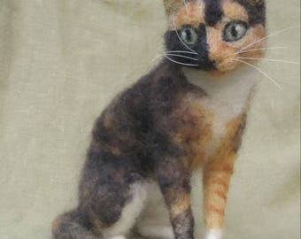 Needle felted cat portrait, your kitty custom made, memorial keepsake