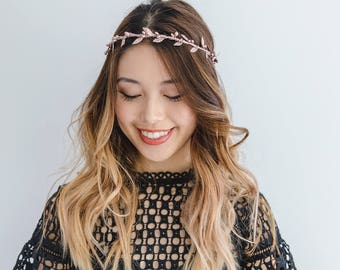 rose gold flower crown // rose gold berry leaf flower crown / wedding flower crown / bridesmaid flower crown headband / headpiece