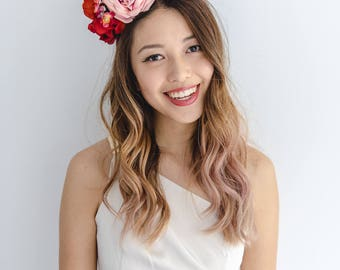 red pink statement flower crown // spring racing flower crown / spring races flower crown headband / flower fascinator bohemian