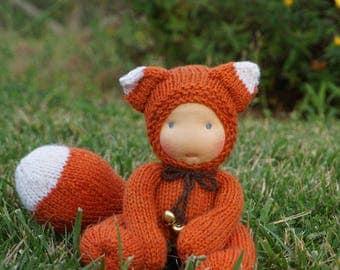 """Waldorf baby Fox  8,5"""" Gifts for Children, Toddlers Newborn Girls Boy Children birthday knitted toy kids gift"""