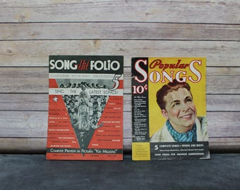 1930's Vintage Music Magazines, 1934 Popular Songs Magazine and 1934 Song Hit Folio