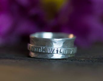 Personalized Spinner Ring Fidget Ring Name Ring Family Ring Poem Song Lyric Coordinates Mother Gift for Her Girlfriend Wife Fidget Jewelry