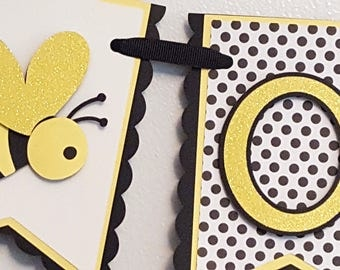 "Little Bumble Bee ""One"" Pennant Highchair Banner in Black, White, and Yellow"