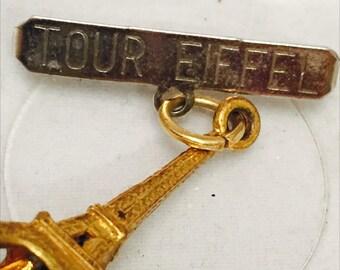 Eiffel Tower Pin Souvenir France Pin Gold Tone Charm