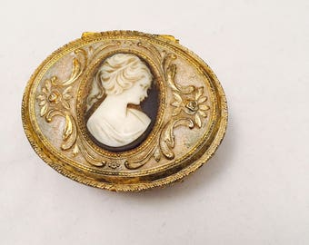 Trinket Box Jewelry Casket Cameo Top White Wash Gold Embossed Metal