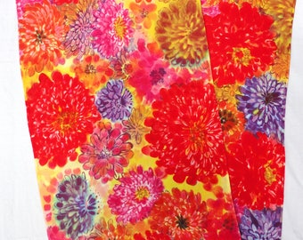 silk scarf large long Colorful Zinnia luxury crepe floral hand painted unique wearable art women fashion wrap shawl