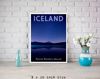 Iceland 8x10 Art Print Minimalist Landscape Art Blue Poster Mountain Landscape Travel Poster Contemporary Travel Art