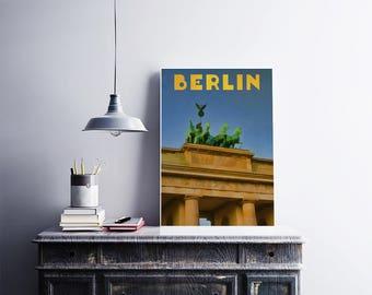 12x18 Poster Art Print Berlin Germany Retro Travel Poster Vintage Style Art City Art Poster Europe Travel