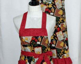 Italian Apron, Matching Mom and Teen, Taste of Italy, Cooking, Wine, Pasta, Custom Gift, Personalize With Name, No Shipping Fee, AGFT 1097