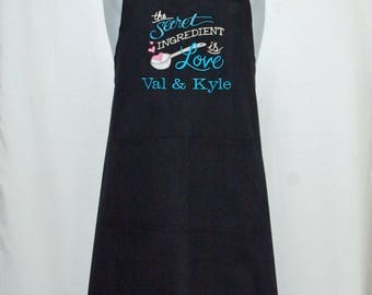 Secret Ingredient Is Love Apron, Wedding Kitchen Shower, Custom Personalize Gift, Bride Groom Names, Sweetheart, Wife, Ships Today AGFT 1216