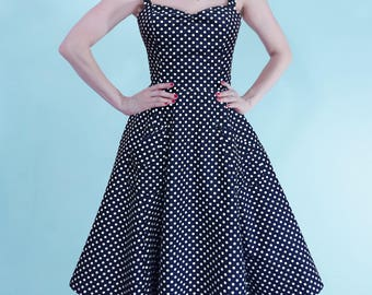 Navy Poka Dot Angie Dress
