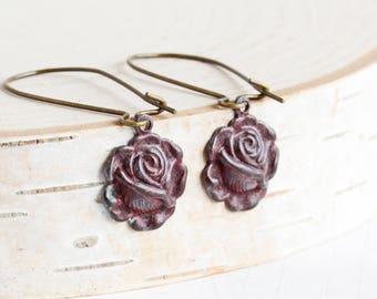 Dark Red Patina Rose Flower Earrings on Antiqued Brass Hooks