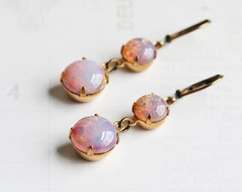 Light Pink Earrings, Opalescent Rhinestone Earrings on Antiqued Brass Hooks, Pink Dangle Earrings, Vintage Glass Stone, Leverbacks