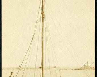 Early 1900s SAIL BOAT With Her Sails Stored Away at Port Photo Postcard circa 1910
