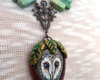 BARN OWL Totems Sculpted CLAY Pendants Hand Painted Beach Stones Painted Rocks Sea Pebble Necklaces Spirit Animal Owls Jewelry Gifts for Her