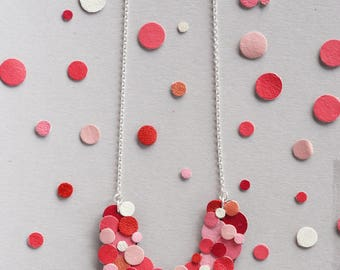 Pink Red Valentine Confetti Black Leather Crescent Necklace Silver Fill Chain Colourful Sustainable Eco Friendly Gift Japanese