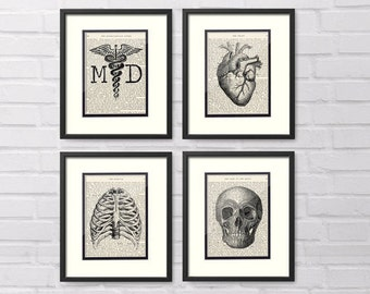 MD Doctor Collection Set of 4 MD, Heart, Chest, Skull over Vintage Medical Book Pages - MD Doctor Graduation Gift, Medical Doctor Gift