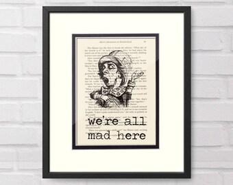 Mad Hatter Art over Vintage Alice in Wonderland Book Page - Office Decor Boss Gift Graduation Gift
