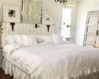5 piece Farmhouse  Bedding | Shabby Chic Bedding | Ruffled Duvet Cover | Ruffled Bedding | Cotton Bedding | Ruffled Bedding | Bed Skirt