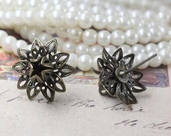 20 Brass Antique Bronzed Filigree Flower Steel Post Earring W/ Stone/ Bead Setting- Z5243