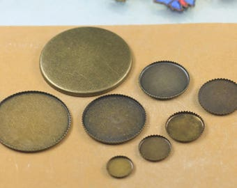 Wholesale 100 Brass Round Bezel Setting Jagged Frame Antique Bronzed 8mm/ 10mm/ 12mm/ 14mm/ 16mm/ 18mm/ 20mm Blank Round Mountings- Z6121