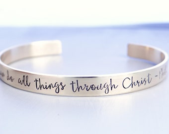 I Can Do All Things Through Christ - Philippians 4:13 - Gold Cuff Bracelet.  Inspiration Jewelry, Stacking Cuff - Scripture.