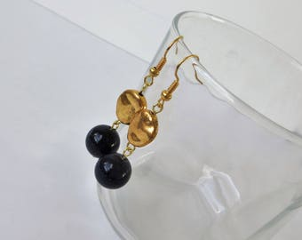 Navy Blue and Gold Earrings, Mixed Metal Earrings Handmade, Gold and Blue Earrings, Beautiful Handmade Earrings, Navy Blue and Gold Wedding
