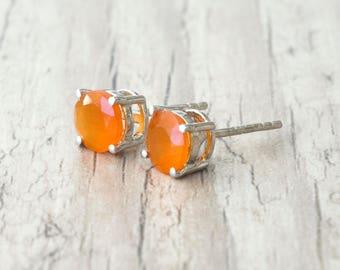 Small Stud Earrings, Garnet Natural Orange Gemstone Earrings, Minimalist Sterling Silver Unisex Studs, Everyday Earrings for Men