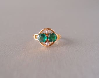 antique 10k Rose Gold Ring Emerald Green Diamond gemstones Victorian Greek Key Circle MB Bryant Co sz 5.5