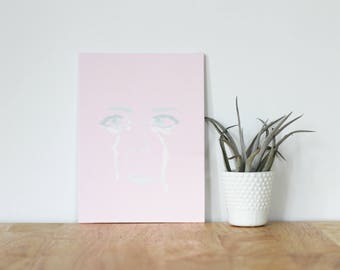 """pink acrylic painting, """"jen gotch"""" - are you my bestie, flat 6x8 canvas, gift for friend, best friends, portrait, crying face, tears, love"""