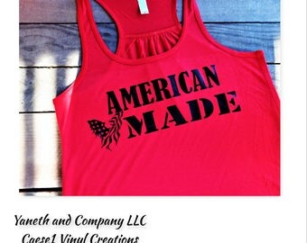 American Made Eagle Flag Tank Top,Red American Made tank top,White Patriotic tank,Navy Blue Memorial Day tank top,Fourth of July tank
