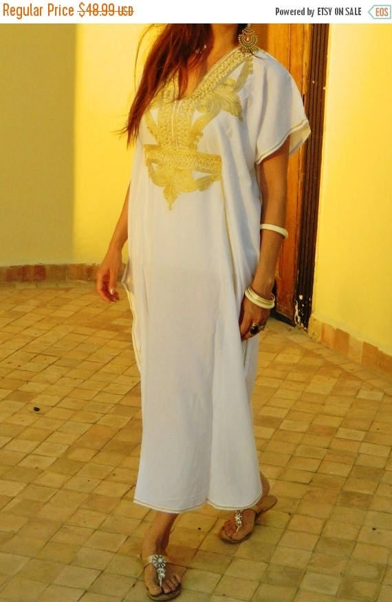 20% OFF Winter Sale// White Caftan Kaftan Maxi Dress Marrakech Style- White with Gold Embroidery