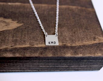 Hand Stamped Sterling Silver Square with Monogram Necklace, Stamped Square Necklace, Geometric Necklace, Initial Necklace, Monogram Necklace