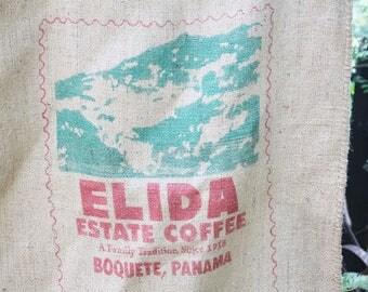 Vintage Burlap Coffee Bag, Elida Estate Coffee, Boquette Panama, Coffee bag,
