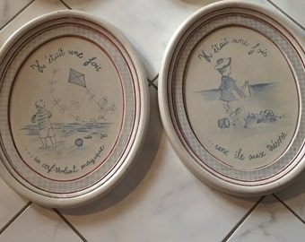 Pair Vintage French Children Wall Hanging Plaques, Blue and White or Cream  Framed Art Cottage Chic Nautical Beach Seaside Decor