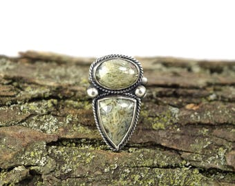 Double Horse Canyon Agate Ring - Size 6.5 Stone Ring - Horse Canyon Agate Jewelry - Double Stone Ring - Shield Ring - Horse Canyon Stone