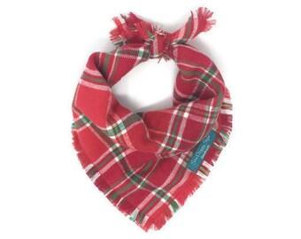 Red and Green Plaid Dog Bandana, Christmas Bandana, Bandana with Fringe, Holiday Bandana