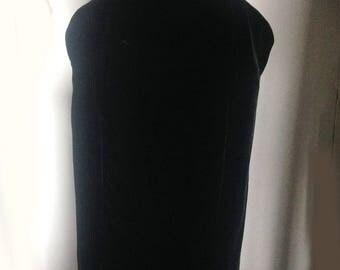vintage Thierry Mugler black velvet mid length skirt Paris