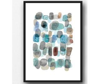 Ocean Art Print, Abstract watercolor art, watercolor print, pebbles art, abstract Watercolor painting