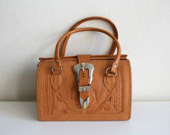 Buckle Tooled Leather Handbag