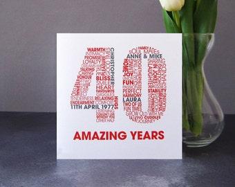 Ruby Wedding Anniversary Card - Personalised 40th Anniversary Card - Celebratory 40 Year Card - Wedding Anniversary Celebration Card